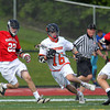Beverly senior Zach Duguid (16) tries to escape from pressure by Marblehead senior Harrison Young (22) and junior Brooks Tyrrell (4). Behind four goals and five assists from junior attack Nick Albano the Panthers downed the Magicians 12-6 to capture the D2 North Title at Bertram Field in Salem on Saturday afternoon. DAVID LE/Staff photo. 6/7/14.