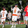 "Beverly junior Nick Albano (8) does the ""Superman"" celebration after scoring one of his four goals on Saturday afternoon. Behind four goals and five assists from junior attack Nick Albano the Panthers downed the Magicians 12-6 to capture the D2 North Title at Bertram Field in Salem on Saturday afternoon. DAVID LE/Staff photo. 6/7/14."