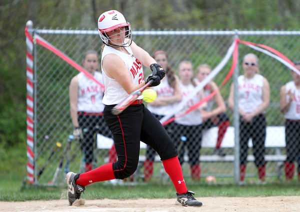 Masco senior Emily Dow lines a triple to deep right-centerfield against Beverly on Thursday afternoon. DAVID LE/Staff photo. 5/15/14.
