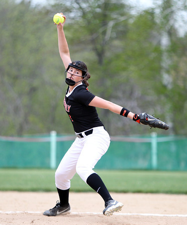 Beverly starting pitcher Emily Pitman (7) fires a pitch against Masco in a non-league game on Thursday afternoon. DAVID LE/Staff photo. 5/15/14.
