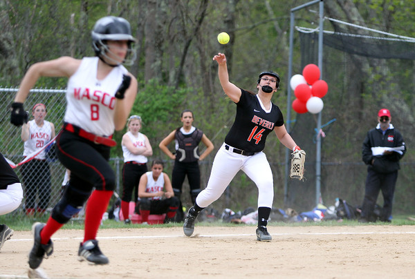 Beverly third baseman Olivia George (14) fires to first to try and throw out Masco senior Danielle Teixeira (8) on Thursday afternoon. DAVID LE/Staff photo. 5/15/14.
