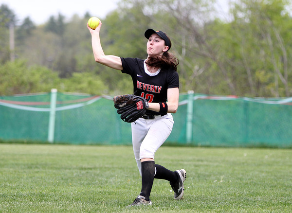 Beverly right fielder Ally Pia (12) fires to first to cut down a Masco batter on a sharply hit ball to right on Thursday afternoon. DAVID LE/Staff photo. 5/15/14.
