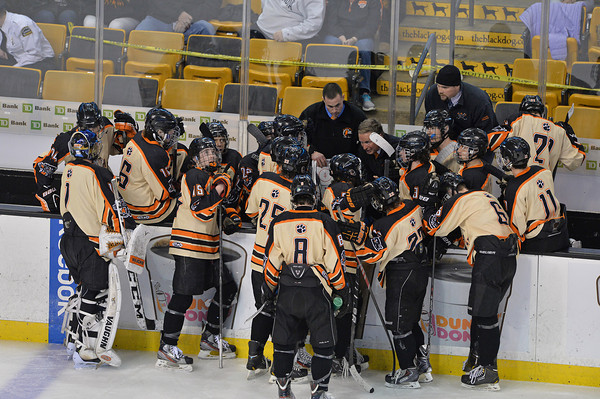 Desi Smith Staff photo/Salem News.  Beverly's Head Coach Bob Gilligan talks to his team in the 3rd period leading 2-1 with minutes left in Div.2 State Championship. Beverly hung onto the lead with a win over Medfield at the TD Garden Sunday night in Boston.  March 16,2014
