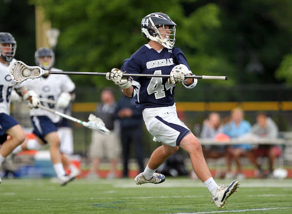 Hamilton-Wenham senior captain Jimmy Littlefield (44) rifles a shot on net against Cohasset. The Generals fell to the Skippers 10-6 in the D3 State semifinal at Woburn High School on Wednesday evening. DAVID LE/Staff photo. 6/11/14