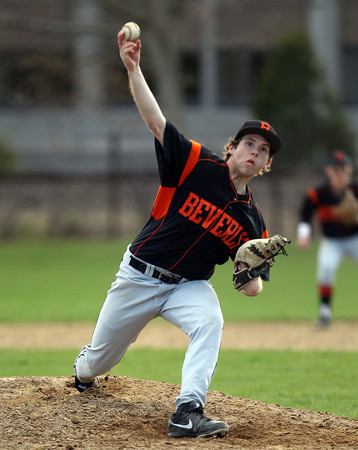 Beverly starting pitcher Eric Messina fires a strike against Marblehead on Friday afternoon. DAVID LE/Staff photo. 5/2/14