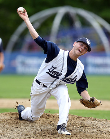Hamilton-Wenham starting pitcher Jack Clay fires a pitch against Masco on Tuesday afternoon in a CAL showdown. The Chieftans got the better of Clay, winning 2-1 at Patton Park, behind a 12 strikeout effort from senior Joe Klingensmith and a solo home run from senior Mike Manni. DAVID LE/Staff photo. 5/20/14