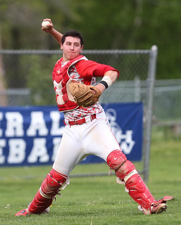 FOR FILE PHOTOS: Masconomet senior catcher Mike Manni (13). DAVID LE/Staff photo. 5/20/14