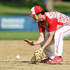 Masco first baseman Will Twiss (6) cleanly fields a grounder and throws out a Hamilton-Wenham batter on Tuesday afternoon. Masco senior Joe Klingensmith pitched a complete game, striking out 12 Generals batters to lead the Chieftans to a 2-1 win on Tuesday afternoon at Patton Park. DAVID LE/Staff photo. 5/20/14