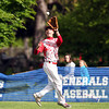 Masco center fielder Tom Budrewicz tracks down and hauls in a deep fly ball to retire a Hamilton-Wenham batter. Masco senior Joe Klingensmith pitched a complete game, striking out 12 Generals batters to lead the Chieftans to a 2-1 win on Tuesday afternoon at Patton Park. DAVID LE/Staff photo. 5/20/14