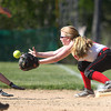 Sophomore first baseman Kylie Currier (14). DAVID LE/Staff photo. 5/21/14.
