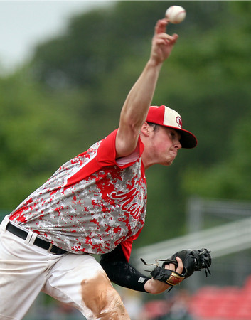 Masco senior starting pitcher Joe Klingensmith fires a pitch against Westwood in the D2 State Championship. The Chieftains captured the D2 State Championship with a 10-2 win over Westwood at Campanelli Stadium in Brockton on Thursday afternoon. DAVID LE/Staff photo. 6/12/14