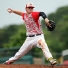 Masconomet senior captain Joe Klingensmith fires a pitch against Westwood during the third inning of play. The Chieftains captured the D2 State Championship with a 10-2 win over Westwood at Campanelli Stadium in Brockton on Thursday afternoon. DAVID LE/Staff photo. 6/12/14