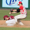 DESI SMITH/Staff photo.    Masco's second baseman Samson Hamburger catches Gloucester's Lukas McRobb in a run down, during the MIAA North Sectional Championship game held Saturday afternoon at LeLacheur Park in Lowell.    June 7,2014