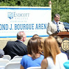 Boston Bruins legendary defenseman Ray Bourque speaks at a groundbreaking ceremony for the new ice hockey rink at Endicott College, which will be named the Raymond J. Bourque Arena and is set to be completed in fall 2015. DAVID LE/Staff photo. 7/29/14.