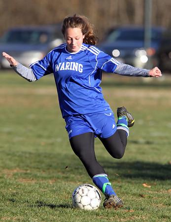 Beverly: Waring School senior Audrey Sheetz fires a shot on net against Montrose on Wednesday afternoon. David Le/Salem News