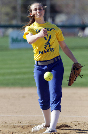 Danvers: Danvers junior starting pitcher Kendall Meehan fires a strike against Beverly on Thursday afternoon. Meehan pitched a complete game shutout for the Falcons, as they defeated the Panthers 3-0. David Le/Salem News