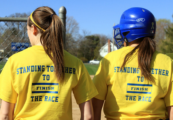 Danvers: Both the Danvers and Beverly softball teams sported special shirts during their game on Thursday afternoon, supporting The One Fund. David Le/Salem News