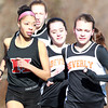 Marblehead: Marblehead junior Janaya Randall, Beverly junior Nicole Demars, and Beverly sophomore Maeve Monahan, compete in the girls two-mile race on Wednesday afternoon. David Le/Salem News