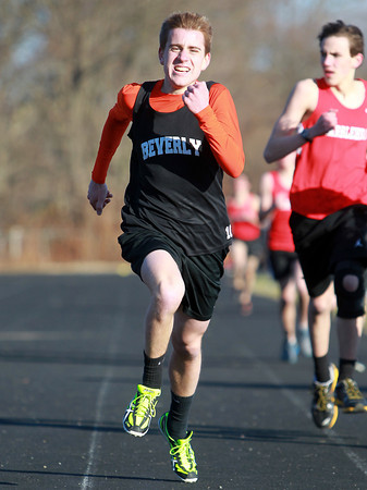 Marblehead: Beverly senior Dylan Perry sprints to the finish line en route to a win in the mile race on Wednesday afternoon against Marblehead. David Le/Salem News