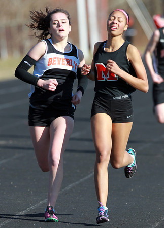 Marblehead: Beverly junior Nicole Demars, left, and Marblehead junior Janaya Randall run side by side during the two-mile race on Wednesday afternoon. David Le/Salem News