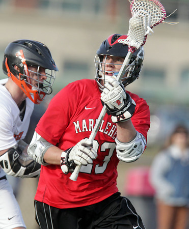 Beverly: Marblehead senior midfielder Ian Maag looks to create a shot against Beverly on Tuesday evening. David Le/Salem News