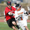 Beverly: Beverly senior attack Ryan Shipp shields the ball as he gets stick-checked by Marblehead junior Liam Gillis on Tuesday afternoon. Shipp scored two first half goals to help pace the Panthers past the Magicians 12-6. David Le/Salem News
