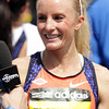 Boston: Marblehead native Shalane Flanagan smiles after she finished the 117th Boston Marathon on Monday afternoon. David Le/Salem News