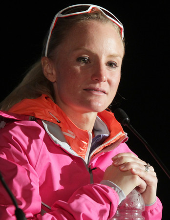 Boston: Marblehead native Shalane Flanagan speaks at a press conference after running in the Boston Marathon. David Le/Salem News
