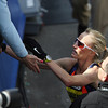 Boston: Marblehead native Shalane Flanagan goes over to the stands to talk with her mom after finishing the 117th Boston Marathon in 4th place in the Women's Elite Division on Monday afternoon. David Le/Salem News
