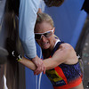 Boston: An emotional Shalane Flanagan get some encouraging words from her mom after finishing 4th overall in the Women's Elite division in the 117th Boston Marathon. David Le/Salem News