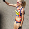 Boston: Marblehead native Shalane Flanagan blows a kiss and waves to the crowd at the finish line of the 117th Boston Marathon on Monday afternoon. David Le/Salem News