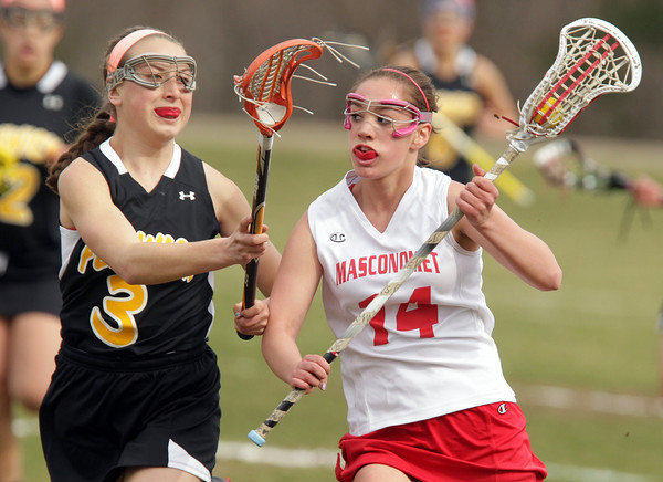 Topsfield: Masco attack Zoe Cennami, right, tries to get past Bishop Fenwick sophomore Jackie Hart, left, on Tuesday afternoon. David Le/Salem News