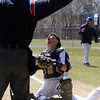 Peabody: Peabody catcher Brandon Polignone reacts to the home plate umpire's safe call after a close play at the plate on Saturday afternoon. David Le/Salem News