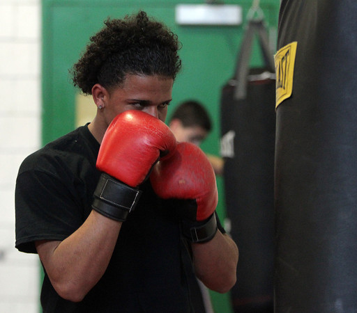 Salem: Freshman Gener Gonzalez practices on Monday afternoon in preparation for a boxing showcase to be held Saturday at Salem High School. David Le/Salem News