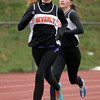 Beverly: Beverly junior Jess Goodall, left, and sophomore Maeve Monahan, compete in the two-mile against Salem on Tuesday afternoon. Monahan took first overall and Goodall took second to lead the Panthers to a win over the Witches. David Le/Salem News