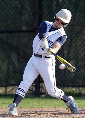 Swampscott: Swampscott third baseman Corey Carmody makes contact against Salem on Monday afternoon. David Le/Salem News