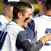 Swampscott: Swampscott third baseman Corey Carmody celebrates with his teammate after hitting a grand slam off Salem starting pitcher Ben Kapnis. David Le/Salem News