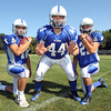 Danvers High School runningbacks senior Anthony Garron, left, senior captain Alex Grant, center, and junior Alex Valles, look to play key roles in the Falcons offense this fall. David Le/Staff Photo