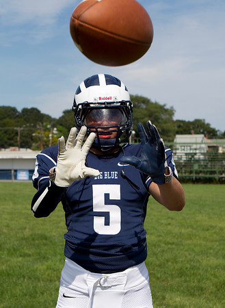 Swampscott senior captain Robert Serino will be one of the top Big Blue receivers coming into the 2012 season. David Le/Staff Photo