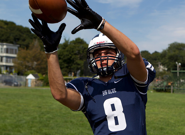 Swampscott Senior Captain Aaron Cronin will be competing for time at wide receiver for the Big Blue this season. David Le/Staff Photo