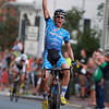 Salem: Seventeen-year-old Curtis White pumps his fist in the air triumphantly as he coasts to a win in the 2013 Witches Cup after outracing five other riders in the lead pack on the last lap of the race. David Le/Salem News