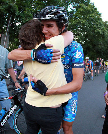 Salem: Men's Elite Champion Curtis White gets a hug from his mom Chris after crossing the finish line first of the Witches Cup. David Le/Salem News