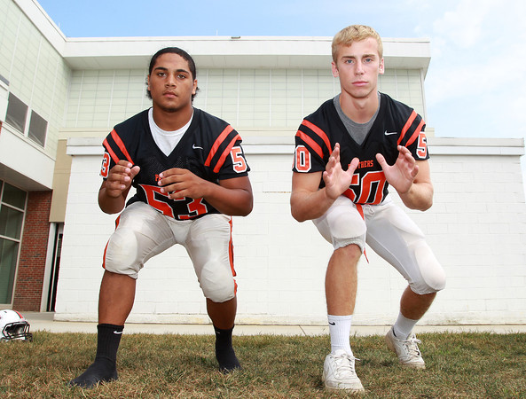 Beverly: Beverly High School seniors Sean Winston (MLB/OL), Zach Duguid (DE/OL), will provide experience and veteran leadership on both sides of the ball for the Panthers in 2013. David Le/Salem News