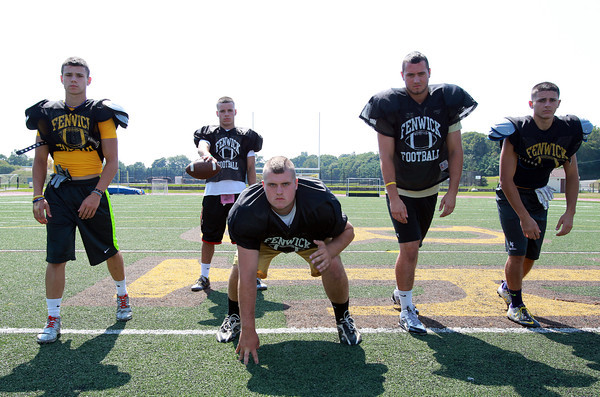 Peabody: The Bishop Fenwick Crusaders will be led in 2013 by five senior captains, from left, Eric Razney (WR/CB), Nick Bona (QB/LB) Charlie St. Pierre (OL/DL), James Traversy (WR/LB), and Charlie Maistrellis (WR/S). David Le/Salem News