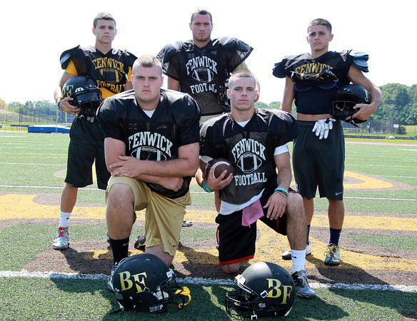 Peabody: The Bishop Fenwick Crusaders will be led in 2013 by five senior captains, from left, Eric Razney, Charlie St. Pierre, James Traversy, Nick Bona, and Charlie Maistrellis. David Le/Salem News