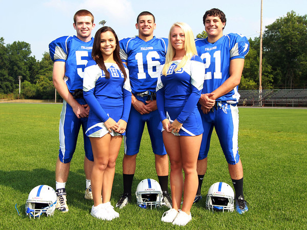 Danvers: Danvers High School senior football and cheerleading captains from left, Mike Favreau, Jackie Evans, Anthony Cordoba, Ali Lee, and Alex Valles. David Le/Salem News