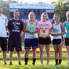 Hamilton: From left, Hamilton-Wenham Girls Basketball Head Coach Jon DeMarco, Assistant coach Rich DeMarco, senior Leslie Bynum (3rd), senior Haley Willis (1st), sophomore Molly Eagar (2nd), and Hamilton-Wenham JV Basketball Coach Erin Parker, after the first Iron Woman competition at Hamilton-Wenham Regional High School on Thursday afternoon. David Le/Salem News