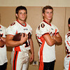 Ipswich: Ipswich High School Football seniors Kyle Blomster (5), captain and running back Derek Chamberlain (40), wide receiver Nate Glaster (80), and slot receiver Jon Tucker (24), will look to lead the Tigers in the 2013 campaign. David Le/Salem News