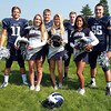 Swampscott: From left, Swampscott High School senior football and cheerleading captains, Brendan McDonald, Sophie Scott, Justin Nestor, Emma Warner, Ben Faulkner, Keila Cox, and Toby Hale. David Le/Salem News