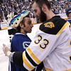 Boston Bruins' Zdeno Chara, of Slovakia, shakes hands with Vancouver Canucks goalie Roberto Luongo following the Bruins' 4-0 win in Game 7 of the NHL hockey Stanley Cup Finals on Wednesday, June 15, 2011, in Vancouver, British Columbia. (AP Photo/The Canadian Press, Jonathan Hayward)